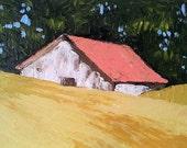 Rustic Farm BARN Original Impressionist Painting CALIFORNIA Plein Air Landscape Art Lynne French 11x14