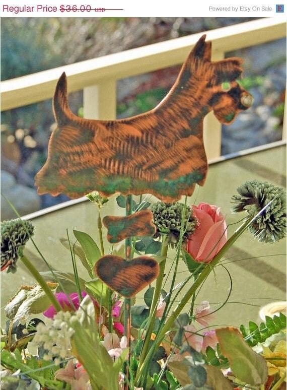 Scottish Terrier Dog Planter Garden Stake Metal By Gardencopperart