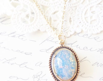 Blue Sapphire Fire Opal Necklace - Gold Rolled Setting - Mothers Day Gift - Birthstone Necklace - September Birthday - 16k Gold Plated