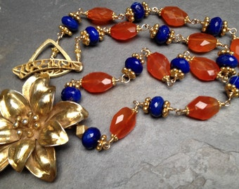 Gold Flower Pendant, Carnelian Necklace, Lapis Lazuli Necklace, Karen Hill Tribe Silver Gold Flower, Faceted Gemstone Flower Necklace