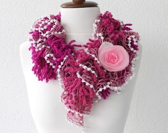Fuchsia Pink Fuzzy Scarf with Removable Brooche