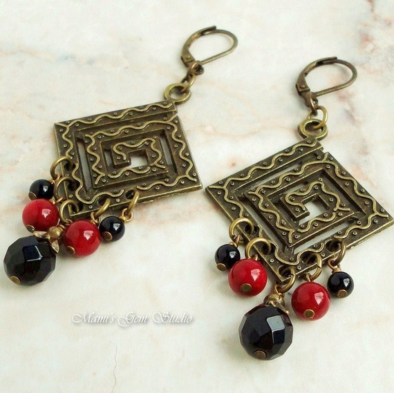 Red Diamond Chandelier Earrings: Black Onyx Red Coral Chandelier Earrings By Mamisgemstudio
