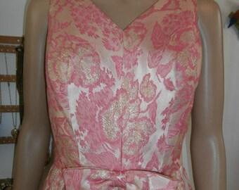 Womens Dress  Formal Maxi - Pink & Silver Brocade Formal  Dress 60's Vintage Dress