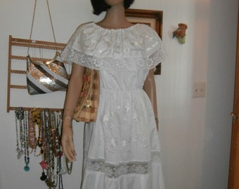 White on White Embroidery Lace Dress ~ Womens Vintage  Dress Bell Lace Sleeves