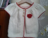 Little girls cardigan creme with red trim