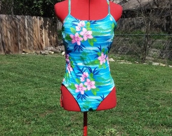 1980s Hawaiian Swimsuit- Vintage Floral Bathing Suit