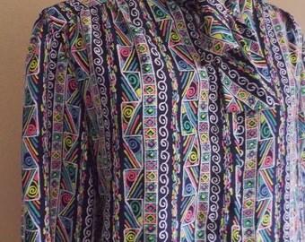 Vintage GEOMETRIC Blouse • 80s Print Shirt • Medium to Large