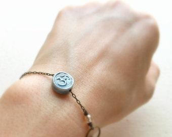 Om bracelet or anklet meditation bracelet om symbol yoga jewelry om jewelry spiritual jewelry hippie jewelry