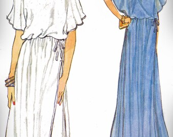 1980s Vogue 7226 (8) Misses Dress Pattern Loose-Fitting with Fitted Underdress Cocktail Evening Very Easy Womens Vintage Sewing Pattern 80s