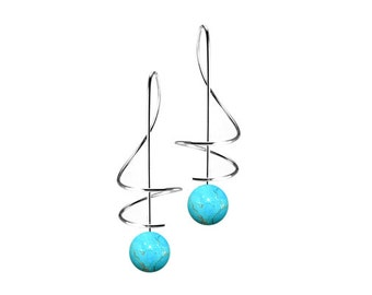 Taormina Turquoise Drop Earrings Stainless Steel Wire Music Key