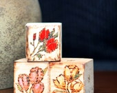 Rose Set of Three Mini Art Blocks Pyrography Original Painting Wood Floral Bouquet of Roses Red Pink Yellow