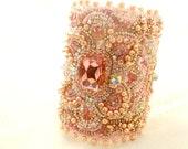 pink bridal bracelet , swarovski wedding bracelet , vintage pink cuff , statement bridal jewelry , bridal unique bracelet , bead embroidered