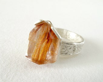 Quartz Ring Sterling Silver Ring With Natural Rutil Quartz Crystal // Made In Your Size