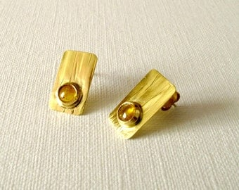 Gold Earrings 18KT Gold Textured Earrings With Natural Yellow Sapphire Cabochon