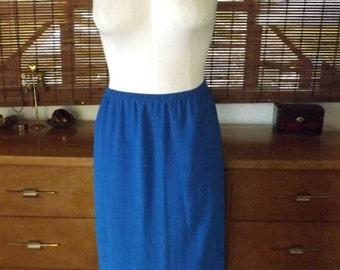 Vintage 70s Disco Cobalt Shine Crinkle Pleat Midi skirt  XL Free Shipping