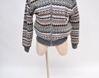 REVERSIBLE vintage jacket womens grey and winter print