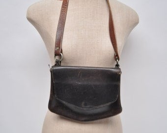 vintage leather purse shoulder bag hippie boho shoulder bag purse leather 70s hand made bort carleton