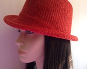 Vintage Red Woven Fedora Hat