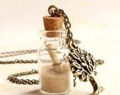 Nature bottle necklace, Glass vial pendant, custom necklace personalize, bronze chain, message in a bottle invitation