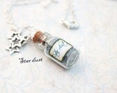 Stardust vial necklace, glass bottle, star charms, silver tone chain, wishes necklace, whimsical and magical jewelry, silver glitter