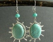 "Wire Wrapped Gemstone Chandelier Earrings, Sterling Silver, Turquoise Magnesite, Sunburst Design, Southwest, ""Wander"""