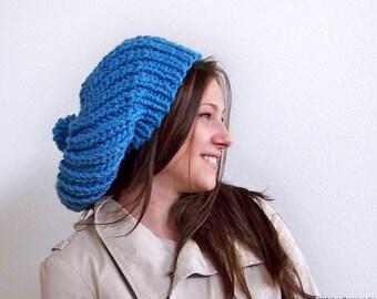 Knit Hat with Pom Pom Hat, Chunky Knit Hat, Pom Beanie, Blue Hat, Blue Beanie, Womens Slouchy Hat, Slouchy Beanie, Slouch Hat, Winter Hat