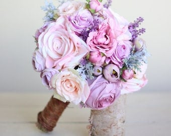 Rustic Silk Bridal Bouquet Lavender Roses Peonies Dusty Miller Grapevines NEW 2014 Design by Morgann Hill Designs