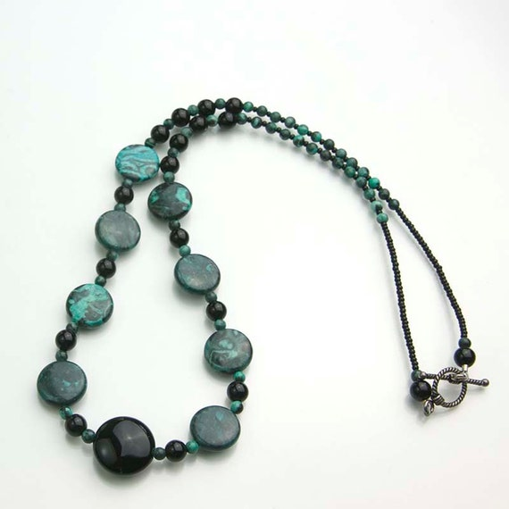 Green Malachite Necklace- Malachite and Black Onyx Gemstone Necklace- Go Eagles!
