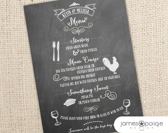Custom Chalkboard Menu - Digital File - Great for Weddings, Rehearsal Dinners, Corporate Events