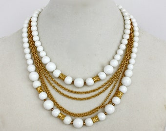 Vintage 50s Paklua Necklace Multi strand White Plastic Beads Gold Chain Choker Necklace Signed