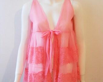 VTG 60s Neon Pink Sheer Nightie Ruffle Top