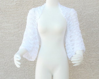 Handmade Hand Knit Cotton Art Yarn Summer Wedding Shrug Bolero Sweater Bright White