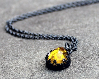 Yellow Topaz Necklace - Rose Cut Topaz Necklace - Topaz Filigree Bezel Pendant -Teardrop Topaz Sterling Silver Necklace - Fancy Bezel Gem
