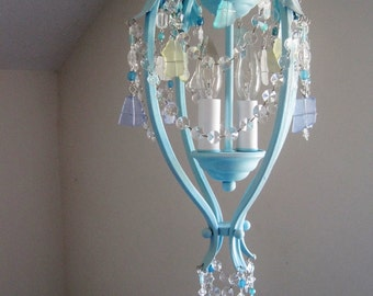 Boho Breeze Sea Glass Chandelier Pendant Lamp MADE TO ORDER