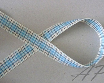 5 Yards of 5/8inch (15mm)  Blue, Brown, Cream Gingham Plaid Ribbon for Jewelry, Accessories, Clothing