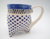 Coffee Mug in Tri-foot Style and Cobalt Blue Polka Dot Design - approx 12 oz (think Starbucks Tall size) in Cobalt Blue