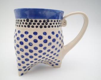 Ceramic Coffee Mug - Tri-foot Mug - Blue Mug -  Polka Dot Mug - Coffee Cup - Tea Cup - approx 12 oz
