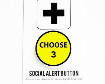 YOU CHOOSE: 3 Social Alert Buttons of your Choice - Mix & Match