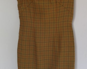 Vintage Wool Dress Plaid Mandarin Collar 1960s 60s Sleeveless Size Small 4-6
