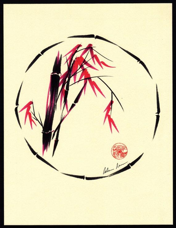 Original Enso Zen Painting Throw Pillows: FORGIVENESS Original Enso Sumi-e Zen Brush Painting By