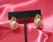 Vintage Gold Filigree Pierced Hoops