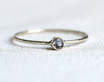 Select a Stone - Platinum Delicate Birthstone Stack Ring - Sparkling Hammered Thread of Platinum with Gemstone Selection