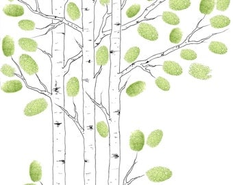 MODERN Wedding Guest Book Tree Small ASPEN tree Customizable ORIGINAL Drawing Thumbprint Tree 30 - 65 guests