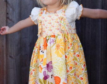 PDF Pattern Back Spring Summer Knot Jumper Sundress with Ruffle Four Panel skirt  Size 12 months to 12 years