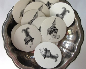 Ladies with Fancy Hats Tags Round Paper Gift Tags Set of 10