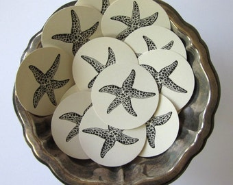 Starfish Tags Round Paper Gift Tags Set of 10
