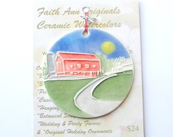 Textured ceramic-watercolor FAMILY FARM ornament complete with gift wrap