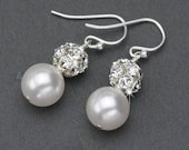 Pearl Wedding Earrings, Classic Pearl Drop Earrings, Wedding Jewelry for Brides, Pearl and Rhinestone Dangle Earrings