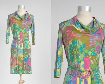 1960s vintage Italian silk jersey dress * Emilia Bellini * psychedelic animal print * 60s vintage dress 5S869