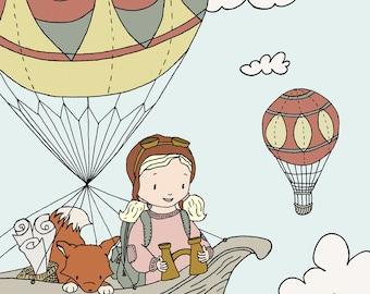 Children Art, Adventure Pals-- Girl and Fox Hot Air Balloon Adventure, Girl Nursery Art, Girls Room, Children Art, Kids Wall Art